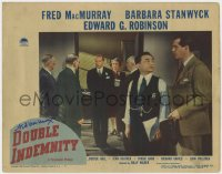 8p042 DOUBLE INDEMNITY signed LC #5 1944 by Fred MacMurray, who's with Edward G. Robinson!