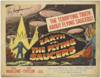 8p021 EARTH VS. THE FLYING SAUCERS signed TC 1956 by Ray Harryhausen, the terrifying truth!