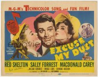 8p045 EXCUSE MY DUST signed TC 1951 by Red Skelton, great art being kissed by two pretty girls!