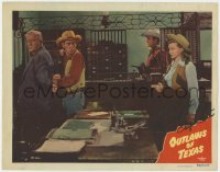 8p058 OUTLAWS OF TEXAS signed LC #7 1950 by Phyllis Coates, who's protecting Whip Wilson from behind!
