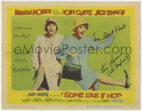 8p060 SOME LIKE IT HOT signed LC #3 1959 by Tony Curtis AND Jack Lemmon, best portrait in drag!