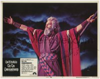 8p065 TEN COMMANDMENTS signed LC #4 R1972 by Charlton Heston, c/u as Moses parting the Red Sea!