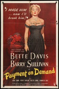 8p011 PAYMENT ON DEMAND signed 1sh 1951 by Bette Davis, classic art of her by Mario Zamparelli!