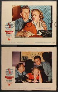 8p015 DETECTIVE STORY 8 LCs 1951 FIVE signed by Kirk Douglas, directed by William Wyler!