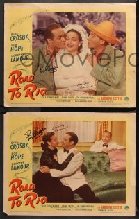 8p016 ROAD TO RIO 8 LCs 1948 EIGHT signed by Bob Hope & SEVEN also signed by Dorothy Lamour!