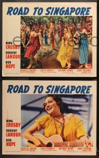 8p017 ROAD TO SINGAPORE 8 LCs 1940 FIVE signed by Dorothy Lamour, ONE also signed by Bob Hope!