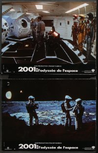 8r040 2001: A SPACE ODYSSEY 2 French LCs R2001 Kubrick, Dullea and Lockwood in pod bay, men on moon!