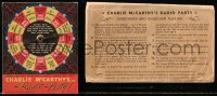 8s044 CHARLIE MCCARTHY'S RADIO PARTY board game 1938 with spinner board & 21 die-cut pieces!