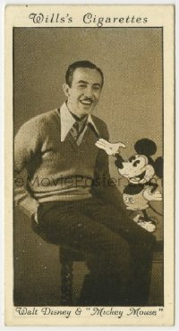 8s005 WALT DISNEY English 2x3 cigarette card 1931 great smiling portrait with early Mickey Mouse!