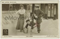 8s065 BANK 4x6 Red Letter photo card R1920s Charlie Chaplin tries to impress Edna Purviance!