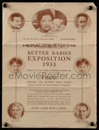 8s042 BETTER BABIES EXPOSITION 1933 contest registration brochure 1933 Warner Bros stars pictured!