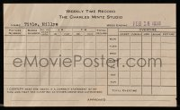 8s062 CHARLES MINTZ STUDIO 4x7 studio time sheet 1939 weekly time record from animation studio!