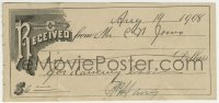 8s072 DANCING LESSON RECEIPT 3x6 receipt 1908 it cost $6 to take classes to learn how to dance!