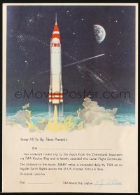 8s056 DISNEYLAND 5x7 souvenir certificate 1950s travel to Spaceport via Howard Hughes' TWA Rocket Ship!