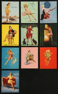 8s077 GIL ELVGREN group of 10 3x4 color prints 1950s wonderful sexy pinup art of sexy women!
