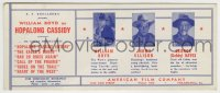 8s070 HOPALONG CASSIDY 4x10 ink blotter 1940s William Boyd, Jimmy Ellison & Gabby Hayes!