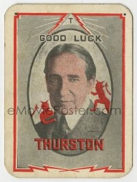 8s076 HOWARD THURSTON 3x4 magic card 1930s great image of the magician w/ devils on his shoulders!