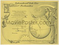 8s046 INTERNATIONAL DATE LINE PROCLAMATION 9x11 promo card 1955 art of Father Time with globe!