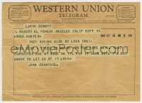 8s033 JOAN CRAWFORD Western Union telegram 1960 telling Ross Hunter she MUST be in his movie!