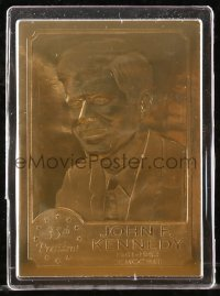 8s024 JOHN F. KENNEDY limited edition trading card 1990s made of 22k gold foil in hard plastic case!