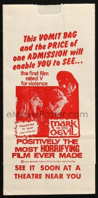 8s016 MARK OF THE DEVIL vomit bag 1970 this movie is guaranteed to upset your stomach!
