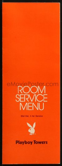 8s069 PLAYBOY TOWERS 4x11 room service menu 1970s The Playboy Club in Chicago, Illinois!
