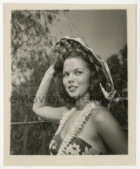 8s067 SHIRLEY TEMPLE 4x5 photo 1940s c/u as a teenager in tropical sarong, lei & woven hat!