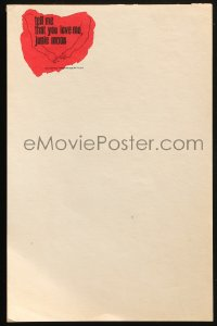 8s052 TELL ME THAT YOU LOVE ME JUNIE MOON 6x9 stationary pad 1970 Otto Preminger, 40 pages!