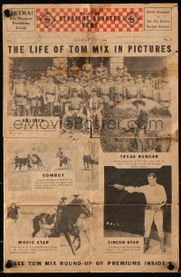 8s045 TOM MIX 9x14 newspaper 1930s Straight Shooter News, The Life of Tom Mix in Pictures!