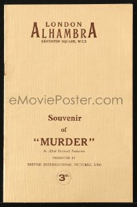 8s001 MURDER English souvenir program book 1930 Alfred Hitchcock, country of origin, ultra rare!