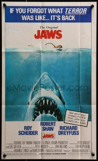 8s035 JAWS Topps poster 1981 Steven Spielberg classic, Kastel art of shark attacking swimmer!