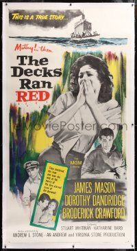 8x006 DECKS RAN RED linen 3sh 1958 James Mason, Dorothy Dandridge, one girl on a crime ship, rare!
