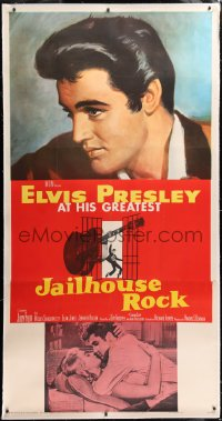 8x008 JAILHOUSE ROCK linen 3sh 1957 classic art of Elvis Presley by Bradshaw Crandell, very rare!