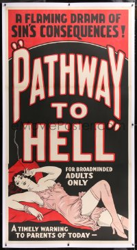 8x011 PATHWAY TO HELL linen 3sh 1930s flaming drama of sin's consequences, sexy bad girl art, rare!