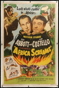 8x012 AFRICA SCREAMS linen 40x60 1949 natives cooking Bud Abbott & Lou Costello in cauldron, rare!