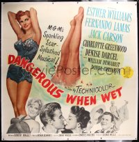 8x002 DANGEROUS WHEN WET linen 6sh 1953 art of sexy swimmer Esther Williams & diving legs, rare!