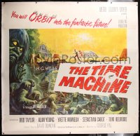 8x004 TIME MACHINE linen 6sh 1960 H.G. Wells, George Pal, great Reynold Brown sci-fi artwork, rare!