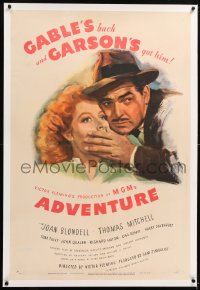 8x027 ADVENTURE linen style D 1sh 1945 close up art of Clark Gable shushing pretty Greer Garson!