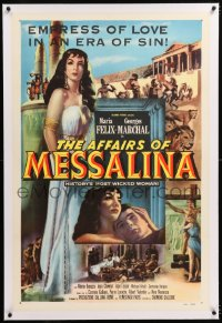 8x028 AFFAIRS OF MESSALINA linen 1sh 1953 great full-length art of sexy Maria Felix in title role!