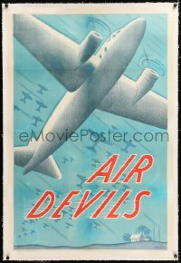 8x029 AIR DEVILS linen 1sh 1938 cool artwork of WWII-era planes, Beryl Wallace, very rare!