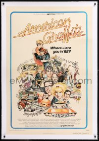 8x031 AMERICAN GRAFFITI linen 1sh 1973 George Lucas teen classic, Mort Drucker montage art of cast!