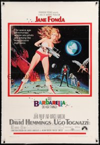 8x032 BARBARELLA linen 1sh 1968 sexiest sci-fi art of Jane Fonda by Robert McGinnis, Roger Vadim!