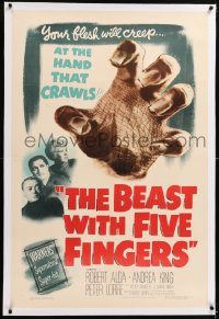8x033 BEAST WITH FIVE FINGERS linen 1sh 1947 Peter Lorre, your flesh will creep at the hand that crawls!