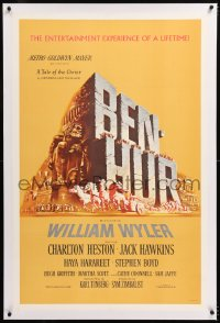8x034 BEN-HUR linen 1sh 1960 Charlton Heston, William Wyler classic epic, cool chariot & title art!