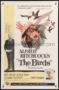 8x036 BIRDS linen 1sh 1963 director Alfred Hitchcock shown, Tippi Hedren, classic intense art!