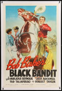 8x037 BLACK BANDIT linen 1sh 1938 cool artwork of western cowboy Bob Baker on rearing horse, rare!