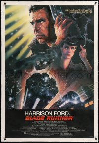8x038 BLADE RUNNER linen studio style 1sh 1982 Ridley Scott, Alvin art of Harrison Ford & cast!