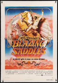 8x039 BLAZING SADDLES linen 1sh 1974 art of Cleavon Little & Mel Brooks by Alvin & Goldschmidt!