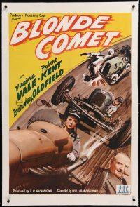 8x040 BLONDE COMET linen 1sh 1941 female race car driver Virginia Vale is the best there is, rare!