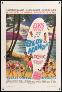 8x042 BLUE HAWAII linen 1sh 1961 Elvis Presley plays a ukulele for sexy ladies on the beach!